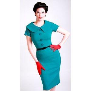 RARE Tatyana Turquoise Rita Collared Pencil Dress